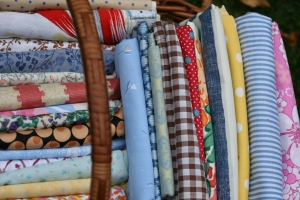 my lovely basket of fabrics