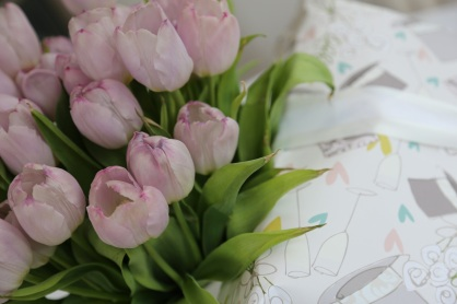 it happens to match the tulips on our table