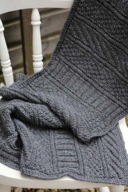 grey self patterned scarf