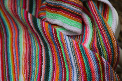 bright striped blanket