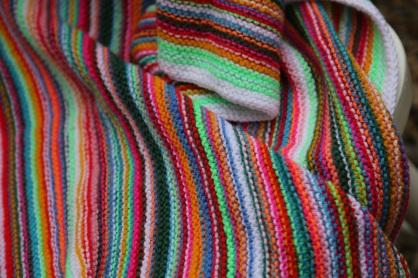 bright striped blanket