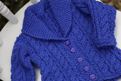 little blue shawl collared aran coat
