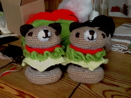burger bear twins ready to post to Emily