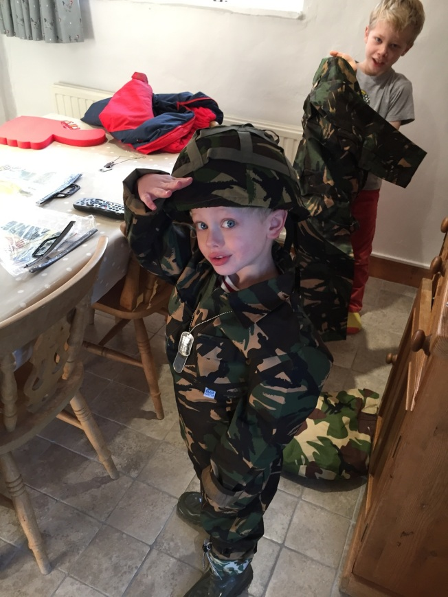 Henry all kitted and saluting
